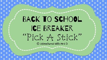 Pick A Stick Ice Breaker Activity