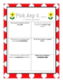 Pick Any 2 Math Station Addition, Subtraction, Place Value