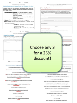 Pick Any 3 Complete Literature and Grammar Units for a 25% Discount
