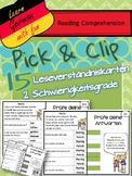 Pick & Flip- German Reading Comprehension- 15 deutsche Leseverständniskarten