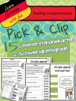Pick & Flip- German Reading Comprehension- 15 deutsche Leseverständniskarten