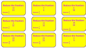 Pick It Up! Board game practicing Reducing Fractions TEKS 5.3I & 4.3C