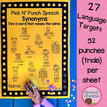 Pick N' Punch Speech Language Targets {low prep black & white print}