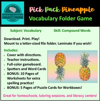 Pick, Pack, Pineapple Folder Game Vocab Compound Words