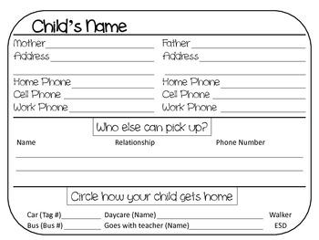 Pick Up Information Cards
