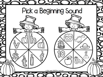 Pick a Beginning Sound:  NO PREP Pumpkin Spin and Say Game