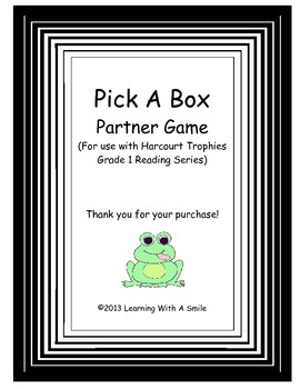 Harcourt Trophies Grade 1 -Pick a Box Partner Game - Great Literacy Center!
