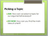 Pick a Nonfiction Topic: PowerPoint Lesson for Argumentative Writing