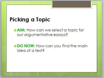 Pick a Nonfiction Topic: PowerPoint Lesson for Argumentati