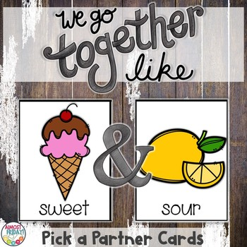 Pick a Partner Antonym Cards for Student Grouping