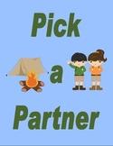 Pick a Partner Summer Camp Cards