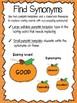 Pick a Patch of Synonyms Pumpkin Worksheet and Bulletin Board Activity