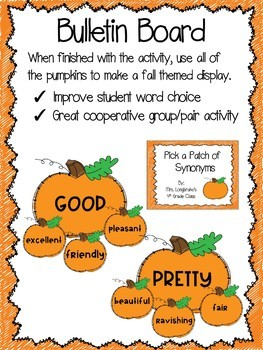 Fall Synonyms Pumpkin Activity and Worksheets