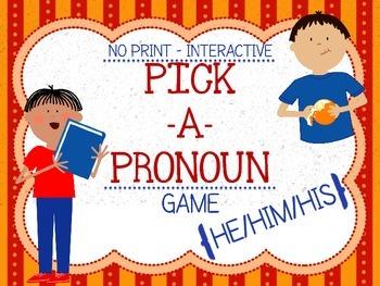 "Pick a Pronoun Game! ""He, Him, & His"" {No Print+Interactive}"