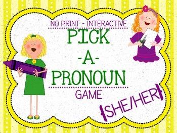 "Pick a Pronoun Game! ""She & Her"" {No Print+Interactive}"
