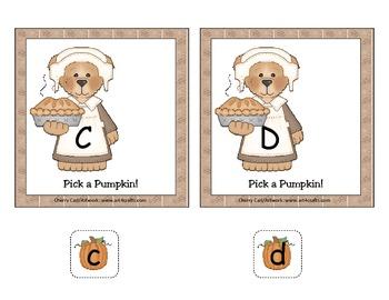 Pick a Pumpkin! Alphabet Match Literacy Center Activity