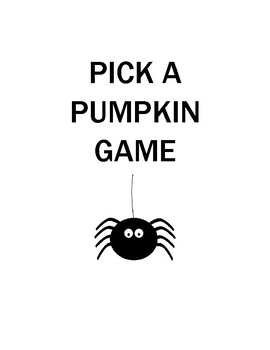 Pick a Pumpkin Reading Fluency Game