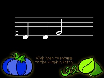 Pick-a Pumpkin: a set of melodic games for reading and writing low la