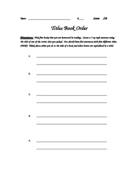 Pick a Title Book Order Assignment