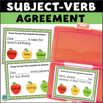Subject Verb Agreement Task Cards By Fishyrobb Tpt