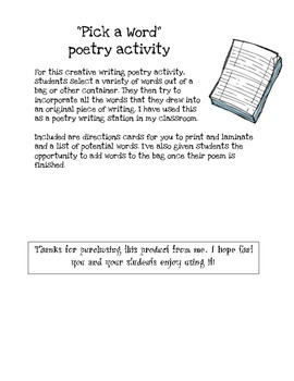 Pick a Word - Poetry Writing Activity
