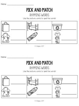 Fall Rhyming Matching Activity