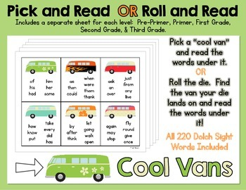 Pick and Read OR Roll and Read: Cool Vans - Contains all 220 Dolch Sight Words