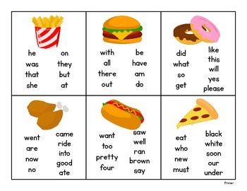Pick and Read OR Roll and Read: Fast Food - Contains all 220 Dolch Sight Words