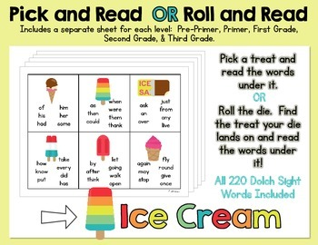 Pick and Read OR Roll and Read:  Ice Cream - Contains all 220 Dolch Sight Words