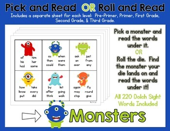 Pick and Read OR Roll and Read: Monsters - Contains all 220 Dolch Sight Words