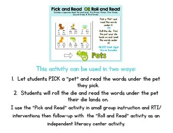 Pick and Read OR Roll and Read: Pets - Contains all 220 Dolch Sight Words