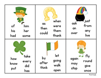 Pick and Read OR Roll and Read: St. Patrick's Day - Contains all 220 Sight Words