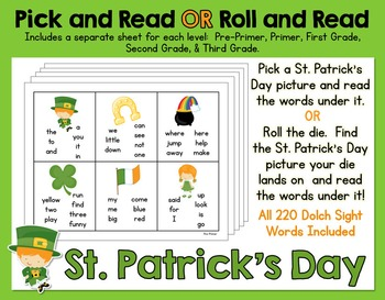 Pick and Read OR Roll and Read: St. Patrick's Day - Contai