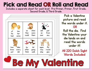 Pick and Read OR Roll and Read: Valentine's Day - Contains all 220 Sight Words