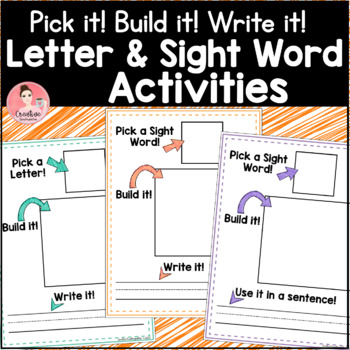 Pick it! Build it! Write it! Work Mats for Letters and Sight Words