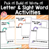 Letters and Sight Words Pick it! Build it! Write it! Literacy Work Mats