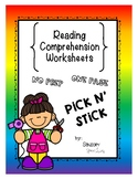 Pick 'n Stick: One Page Comprehension Worksheets!  NO PREP**