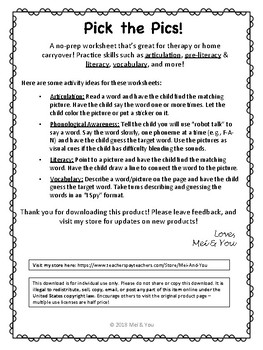 Pick the Pics - Articulation Word-Picture Matching Worksheets