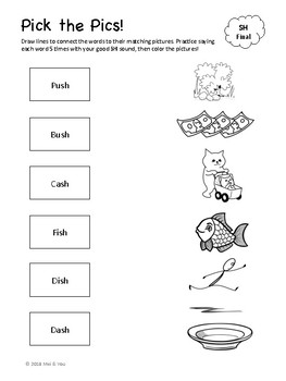 Pick the Pics - Articulation Word-Picture Matching Worksheets FREEBIE