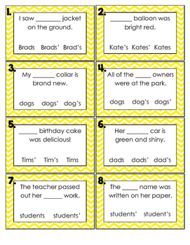 Pick the Possessive: Possessive Noun Task Cards