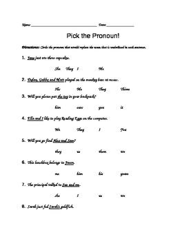 Pick the Pronoun!