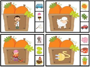 Pick the Rhyme:  LOW PREP Pumpkin Themed Clip Cards