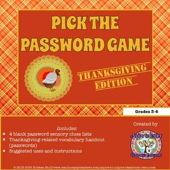 FREEBIE Pick the Thanksgiving Password Game: Sensory Details