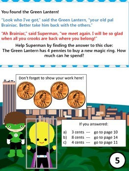 Pick your Path - A Superhero Math Adventure - Kindergarten - 1st Grade