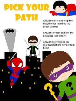 FREE Pick your Path - EASY READER  - A Superhero Math Adventure - Kindergarten