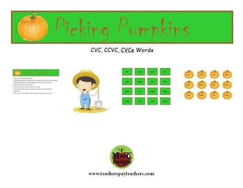 Picking Pumpkins Fall Phonics Game Activity CVC, CCVC, CVCe
