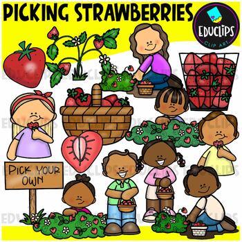 Picking Strawberries Clip Art Bundle {Educlips Clipart}