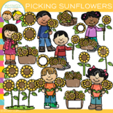 Picking Sunflowers Clip Art