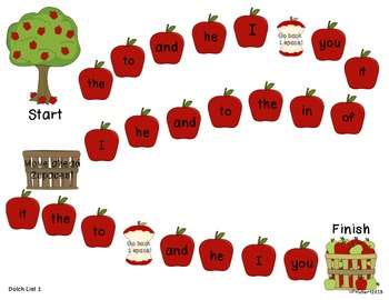 Picking for Apples - Game boards focusing on CVC words, sounds and sight words