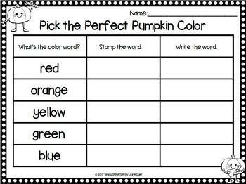 Picking the Perfect Pumpkin Color:  NO PREP Color Word Rubber Stamp Activities